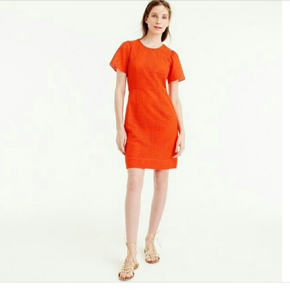 11ff4c81aba J. Crew Flutter Sleeve Dress in Eyelet Bold Red